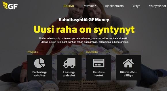 GF Money lainaa pääasiassa kulutusluotto yksityishenkilöille netistä 10.000 euroon asti