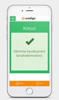 Credigo on mobiilissa todella toimiva, jopa toimivampi kuin perustietokoneella