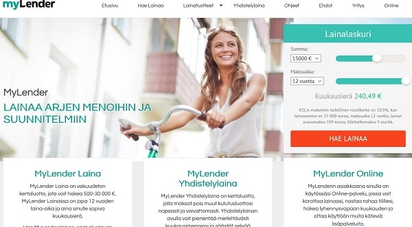 MyLender on mukana Luotto.org kilpailutuksessa ja laina on aina vakuudeton