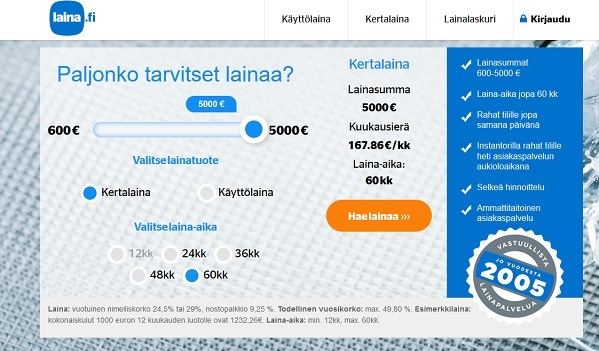 Laina.fi omaa mojovat kokemukset jo vuodesta 2005