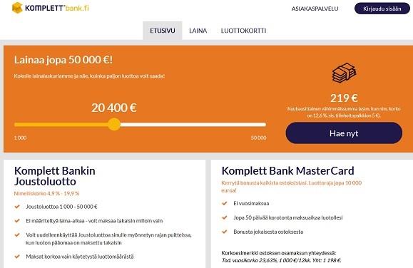 Komplett Bank pankkilaina