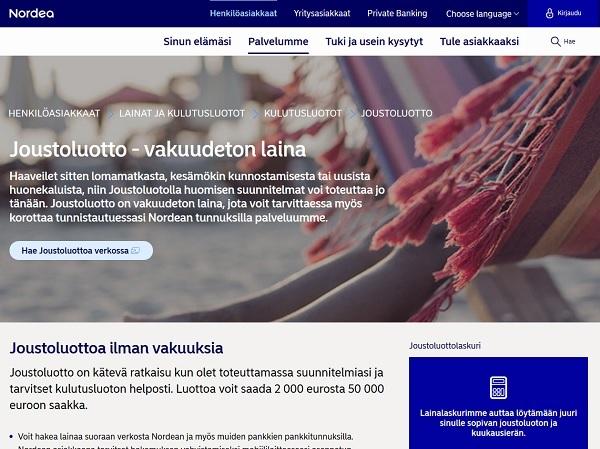 Nordea Joustoluotto on vakuudeton laina
